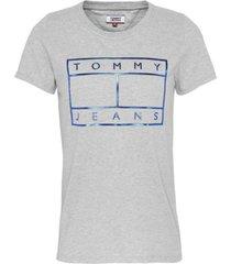 camiseta con logo metalizado gris tommy jeans