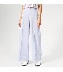 ganni women's poplar trousers - heather - eu 38/uk 10 - multi
