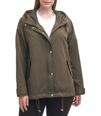 plus size women's levi's hooded peached water resistant rain jacket, size 1x - green