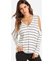 camisetas de manga larga con hombros descubiertos y rayas blancas