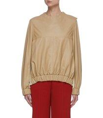 button shoulder elastic waist leather blouse