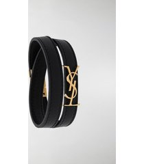 saint laurent logo-plaque wraparound bracelet