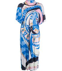 emilio pucci cowl-neck abstract-print dress - blue