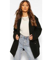 faux teddy fur jas met dubbele knopen, black
