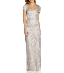 adrianna papell ribbon embroidery column gown, size 4 in silver/nude at nordstrom