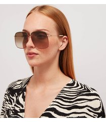 gucci women's oversized metal frame sunglasses - gold/brown