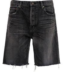 denim fringed bermuda shorts