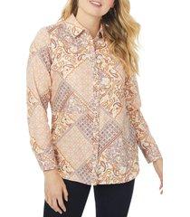 plus size women's foxcroft maven boho scarf print non-iron button-up shirt, size 24w - coral