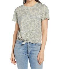 women's caslon crewneck tie front t-shirt, size xx-large - green