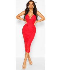 bandeau v bar mesh midi bodycon dress, red