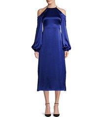 cold-shoulder silk halter dress