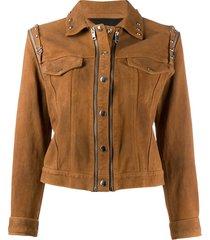 diesel l-tahali convertible trucker jacket - brown