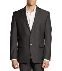 calvin klein men's mini herringbone wool suit jacket - charcoal - size 46 r
