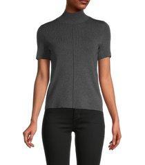 saks fifth avenue women's mockneck sweater - chalkboard - size xs