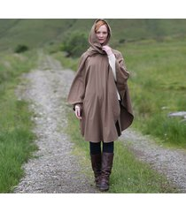 luxurious wool & cashmere irish cape brown