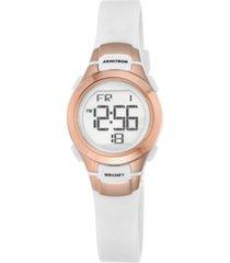armitron women's digital chronograph white resin strap watch 27mm 45-7012rsg