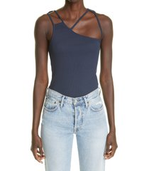 k.ngsley unisex fist geometric cutout ribbed tank, size large in navy at nordstrom