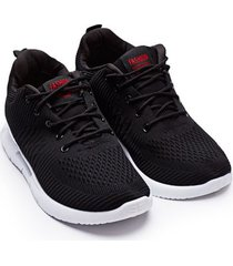 tenis hombre fashion negros color negro, talla 40
