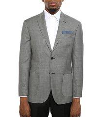 slim-fit gingham wool jacket