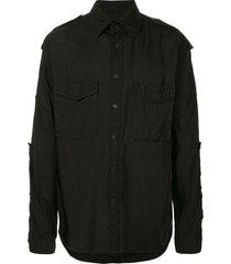 yohji yamamoto military style shirt - black