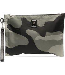 neil barrett camouflage clutch bag - green