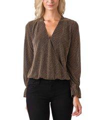belldini women's black label metallic long sleeve wrap front knit top