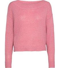 vigood boat neck knit l/s top/2 stickad tröja rosa vila