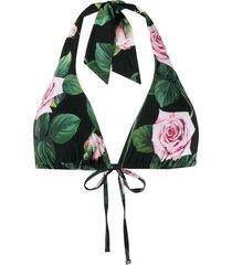 dolce & gabbana rose print bikini top - green