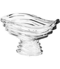 centro de mesa rojemac de cristal ecológico com pé wave 30x24x17cm incolor