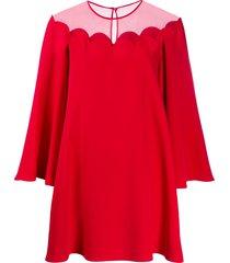 valentino sheer panel mini-dress - red