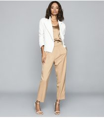 reiss sabine - casual jacket with zip detailing in white, womens, size 14