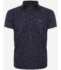camisa aleatory estampada manga curta leafy masculina