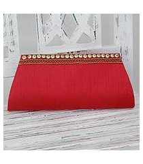beaded clutch, 'red romance' (india)