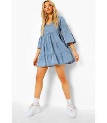 gesmokte chambray jurk met v-hals en en mouwen, mid blue