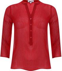 blusa manga 3/4 transparencia color rojo, talla 6