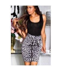 sexy hoge taille rok met luipaard-print grijs
