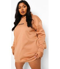 plus new season sweatshirt jurk met capuchon, camel
