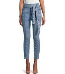 belted high-rise skinny ankle jeans