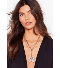 womens party star-ter diamante chain necklace - gold