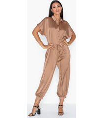 ax paris short sleeve satin jumpsuit jumpsuits