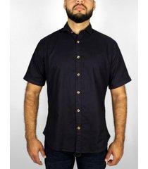 camisa azul oscuro básica manga corta delascar - cb002-azul