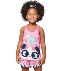 pijama regata e shorts puket  panda rosa - rosa - menina - dafiti
