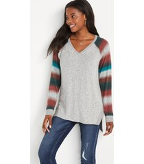 maurices womens gray stripe v neck sweatshirt