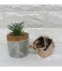 conjunto decorativo de vaso com estampa marmorizada e elefante rose gold 3d