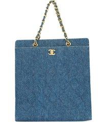 chanel pre-owned 1997-1999 cc chain denim tote bag - blue