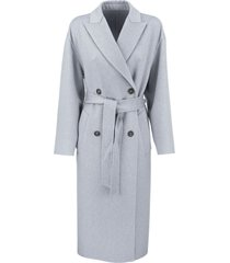 handmade coat in cashmere double cloth with belt and monili brunello cucinelli