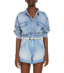 isabel marant etoile tania denim shirt, size 6 us in light blue at nordstrom