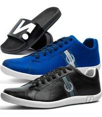 kit 2 pares de sapatãªnis casual dhl masculino preto e azul + chinelo slide - azul/azul marinho/branco/preto - masculino - sintã©tico - dafiti