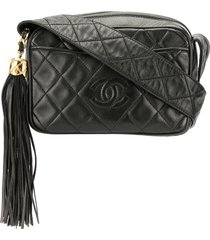 chanel pre-owned 1992's quilted fringe crossbody shoulder bag - black