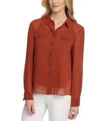 dkny button down blouse